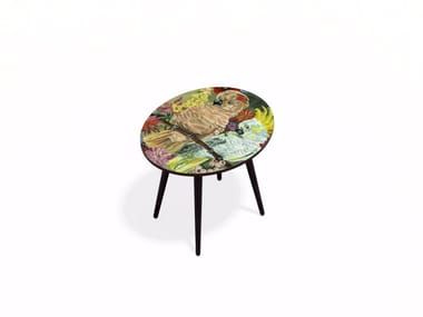Oval Beech wood and HPL coffee table PARAKEET M