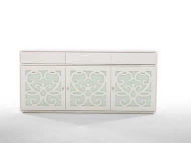 Wood and glass sideboard with doors PARIS | Sideboard