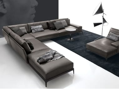 Corner sectional leather sofa with removable cover PARK | Corner sofa