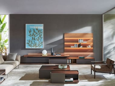Sectional wooden storage wall with integrated lighting PASS-WORD EVOLUTION | Storage wall