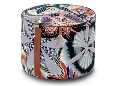 Pouf cilindro in raso di cotone stampato a fiori PASSIFLORA GIANT   Pouf