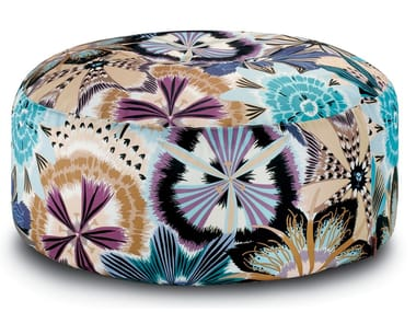 Pallina Pouf in cotton satin with floral print PASSIFLORA GIANT | Round pouf