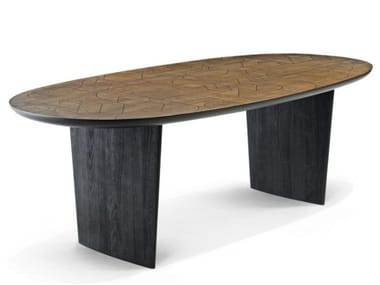 Oval solid wood table PATCHWORK | Table