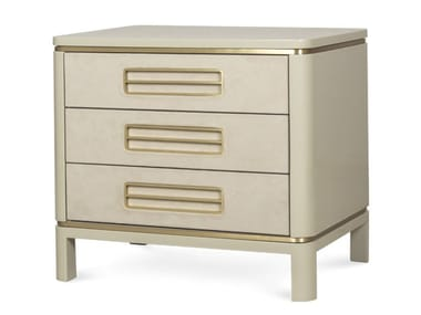 Lacquered Alcantara® and wood bedside table with drawers PAXTON