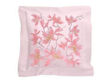 Cuscino in raso con motivi floreali PEACH BLOSSOM | Cuscino in raso