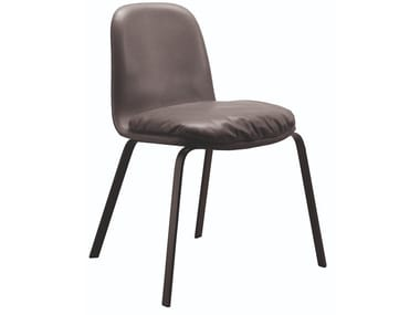Upholstered leather chair PEC | Chair with integrated cushion