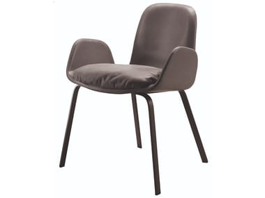 Upholstered leather chair with armrests PEC | Chair with armrests