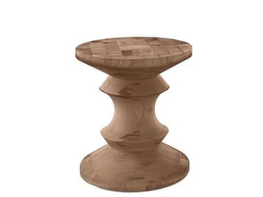 Mesa de centro redonda de madeira maciça PEDINA | Mesa de centro redonda