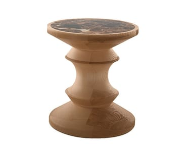 Round marble and wood coffee table PEDINA | Coffee table
