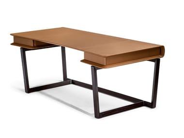 Bureau rectangulaire en cuir avec tiroirs PEEK-A-BOOK
