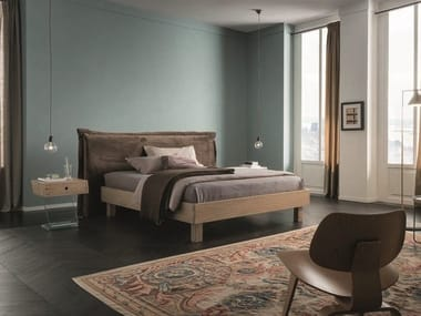 Solid wood double bed with upholstered headboard PEGASO RING 4