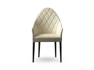 Sedia imbottita in pelle con braccioli con schienale alto PEGGY | Sedia con schienale alto