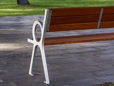 Panchina in legno con braccioli con schienale PERISPHERE | Panchina con schienale