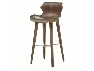 Wood bar stool with back PETAL | Bar Stool