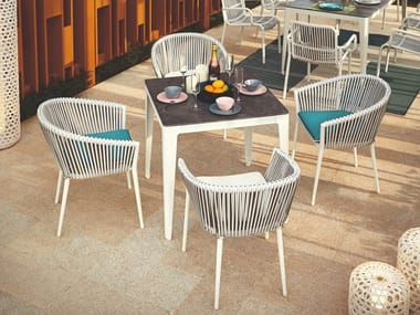 Square ceramic garden table PETAL
