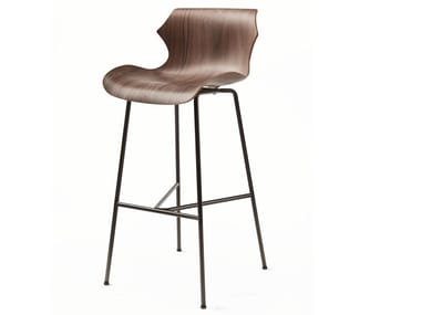 Steel and wood barstool with back PETAL | Stool