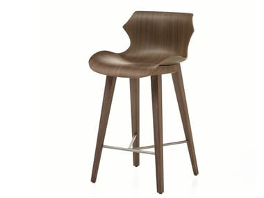 Wooden stool with back PETAL | Wooden stool