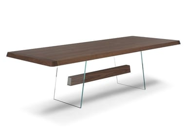 Rectangular wood and glass table PHANTOM