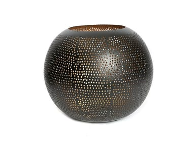 Metal plant pot / candle holder PIERCED BALL