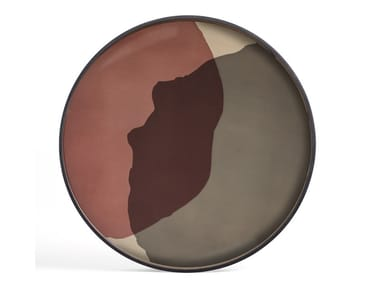 Round wood and glass tray PINOT COMBINED DOTS - ROUND XL