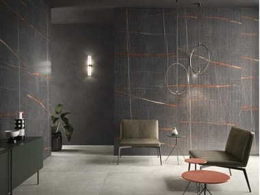 Indoor porcelain stoneware wall tiles with marble effect PINSTRIPE DARK