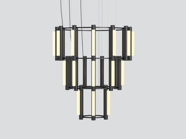LED aluminium and acrylic chandelier PIPELINE CHANDELIER 10