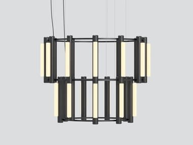 Lustre LED en acrylique de style contemporain à lumière directe et indirecte PIPELINE CHANDELIER 8