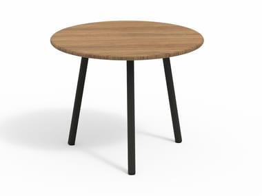 Low round teak garden side table PIPER 013   Teak coffee table