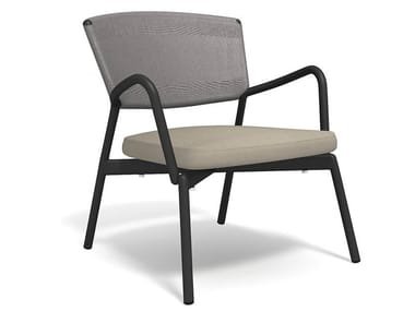 Upholstered easy chair with armrests PIPER 027
