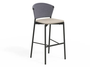 High stool with aluminum and resin backrest PIPER 050 | Stool