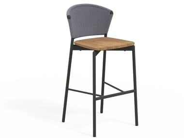 High stool in aluminum and teak with footrest PIPER 050 | Stool with back