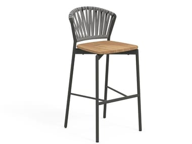High stool in aluminum and teak with footrest PIPER 150   High stool