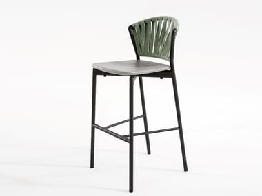 High stool in aluminum and resin with footrest PIPER 150 | Stool