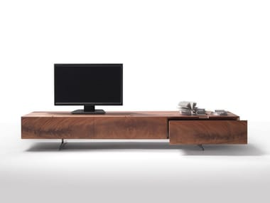 Low mahogany TV cabinet with drawers PIUMA | TV cabinet