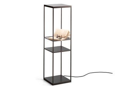 LED painted metal floor lamp with shelf PIVOT