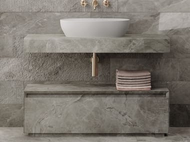Single porcelain stoneware washbasin countertop PLAN