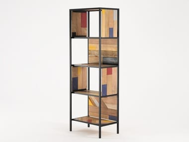 Reclaimed wood bookcase PLANKE VERTICAL RACK 4 | Bookcase