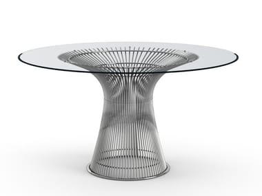 Tavolo rotondo in acciaio e vetro PLATNER   Tavolo