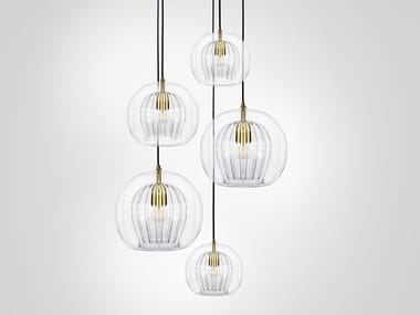 LED direct light metal pendant lamp PLEATED CRYSTAL CLUSTER 5