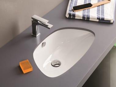 Vasque sous plan simple en céramique PLETTRO | Vasque sous plan
