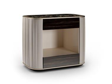 Comodino laccato rettangolare con cassetti PLISSÈ | Comodino