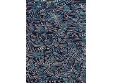 Hand knotted rug in tibetan wool and chinese silk PLUMES