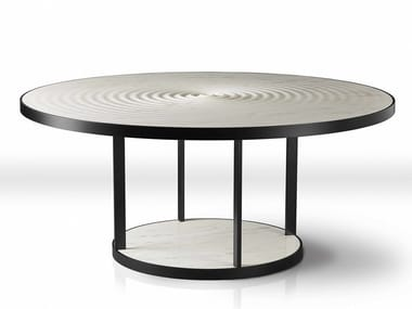 Round marble dining table PLUVIO