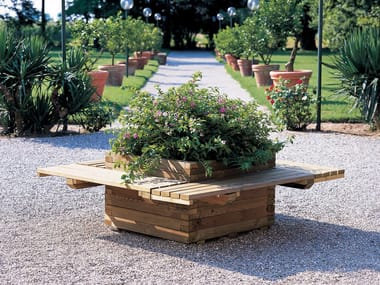 Low wooden planter POLIS