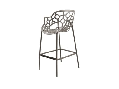 High aluminium garden stool with back POLO | High stool