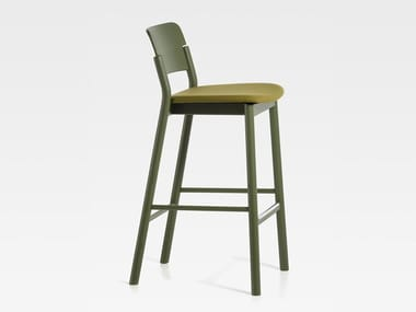 Upholstered wooden barstool with footrest POP | Upholstered stool