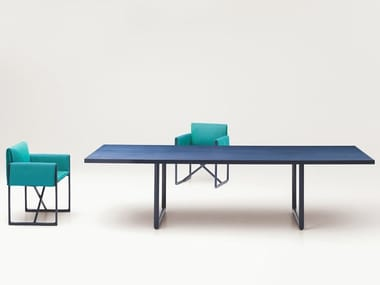 Rectangular aluminium and wood dining table PORTOFINO