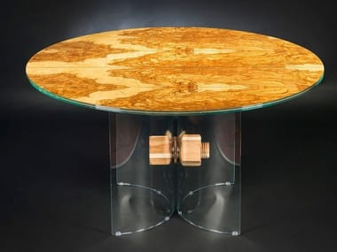 Round wood and glass table PORTOFINO | Round table