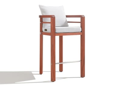 High mahogany and fabric barstool POSITANO | Barstool