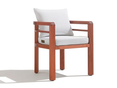 Mahogany and fabric garden chair with armrests POSITANO | Chair